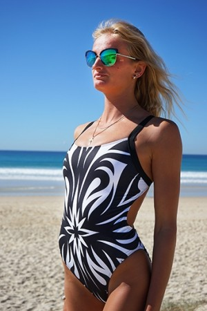 Meadore Ladies One Piece Black & White Fleur